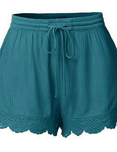 abordables Pantalons Femme-Femme Basique Grandes Tailles Short Pantalon - Couleur Pleine Dentelle Taille haute Noir Blanche Orange S M L