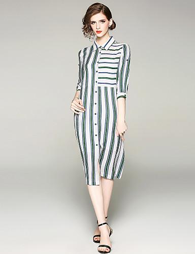2c1da2d2ac3d Γυναικεία Κομψό στυλ street Κομψό Πουκάμισο Φόρεμα - Ριγέ Ως το Γόνατο