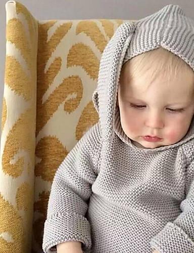 بلوزة كم طويل لون سادة أناقة الشارع للصبيان طفل / طفل صغير