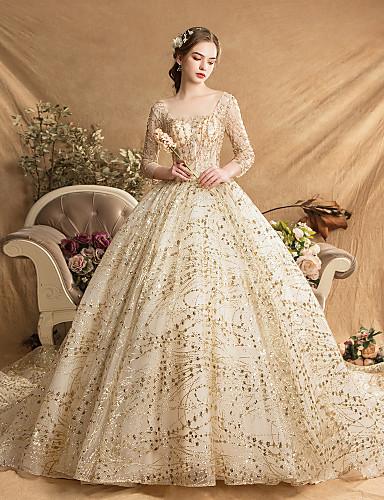 abordables Robes de Mariée 2019-Robe de Soirée Col Carré Traîne Watteau Tulle Robes de mariée sur mesure avec Détail Cristal par LAN TING Express