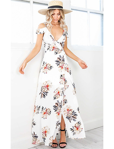 90bb1fc299e Maxi Dress A-Line Plunging Neck Ankle Length Jersey Dress with Pattern    Print   Split Front by LAN TING Express