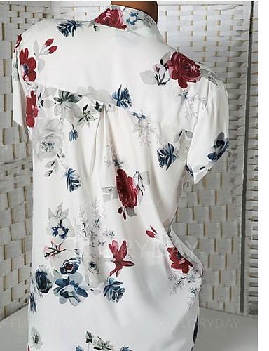 povoljno Majica-Veći konfekcijski brojevi Majica Žene Cvjetni print V izrez Slim Obala