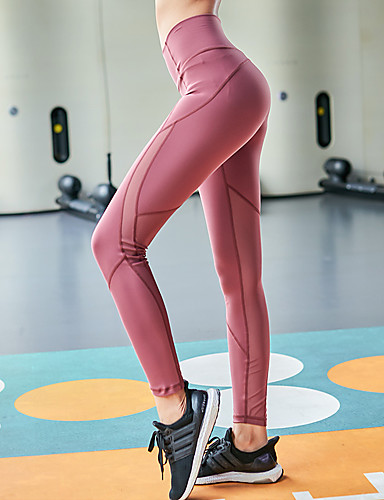 45acbce2b Women s Patchwork Yoga Pants Sports Solid Color Mesh High Rise Tights  Fitness Gym Workout Activewear Breathable Quick Dry Sweat-wicking Tummy  Control High ...