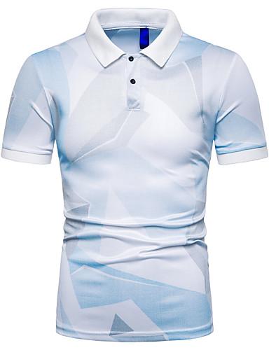 voordelige Herenpolo's-Heren Print EU / VS maat - Polo 3D Overhemdkraag Slank Grijs