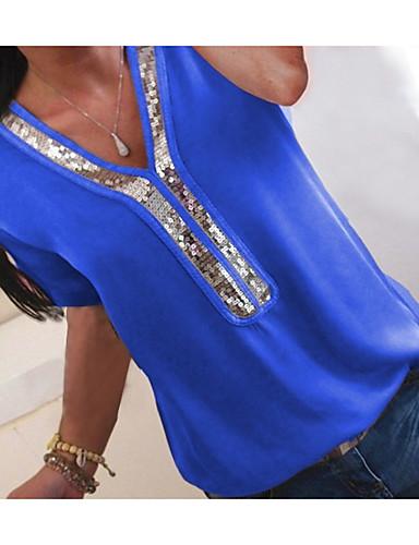 halpa Toimittajan valinnat-Naisten V kaula-aukko Paljetti / Sifonki / Glitter Color Block Pluskoko - T-paita Fuksia XXXL / Kevät / Kesä / Syksy