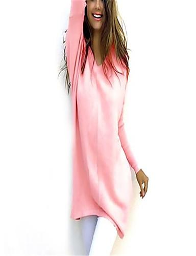 fefa61a7431d Γυναικεία Μονόχρωμο Πουλόβερ Φθινόπωρο   Χειμώνας Ανθισμένο Ροζ    Βαθυγάλαζο   Γκρίζο XL   XXL   XXXL