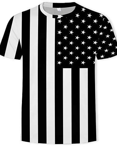 2f9498def80d Ανδρικά T-shirt Ριγέ   Συνδυασμός Χρωμάτων   3D Στάμπα Μαύρο XL