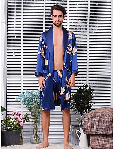 voordelige Herenondergoed & Zwemkleding-Heren Diepe V-hals Kostuum Pyjama  - Geborduurd