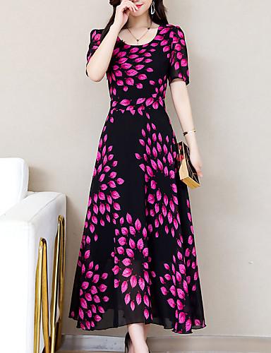 voordelige Maxi-jurken-Dames Grote maten Standaard Slank Schede Jurk - Geometrisch U-hals Maxi