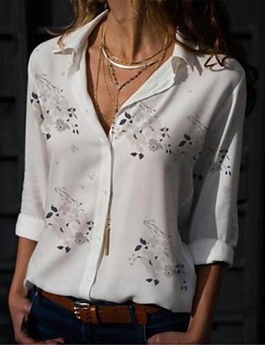 povoljno Ženske majice-Majica Žene - Ulični šik Pamuk Cvjetni print Kragna košulje Print Svjetloplav / Proljeće
