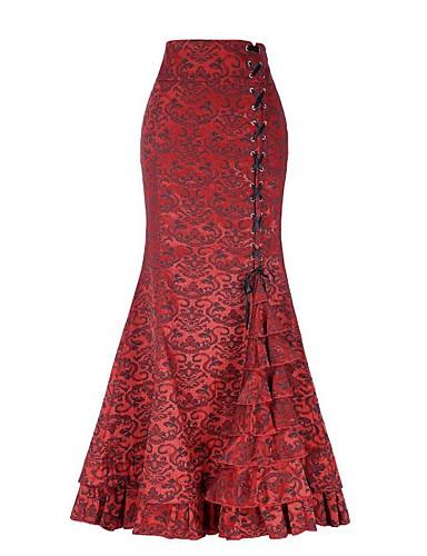 0edb8238ca Women's Street chic Maxi Trumpet / Mermaid Skirts - Solid Colored Lace Gray  Purple Wine