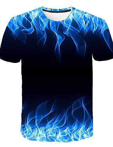 cheap Men's Tees & Tank Tops-Men's T-shirt - 3D Print Round Neck Green XXXL