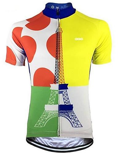 85973d92d4 Malciklo Men's Short Sleeve Cycling Jersey - Blue+Yellow Polka Dot Bike  Jersey Top Quick Dry Sweat-wicking Sports Terylene Mountain Bike MTB Road  Bike ...