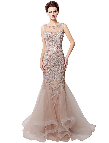 cheap Designers' Originals-Mermaid / Trumpet Jewel Neck Court Train Tulle Dress with Crystals by JUDY&JULIA