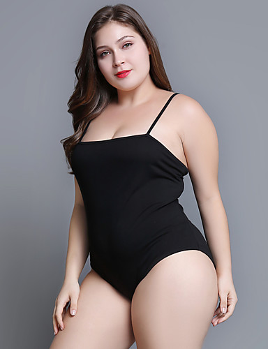 povoljno Ženske majice-Veći konfekcijski brojevi bodysuit Žene Pamuk Jednobojni S naramenicama Slim Crn