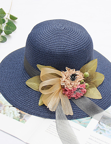 1cee1e8d46ece Women s Active Cute Straw Lace Straw Hat Sun Hat-Floral Summer Beige Navy  Blue Khaki
