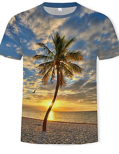 voordelige Heren T-shirts & tanktops-Heren Standaard / Boho Print T-shirt Kleurenblok / 3D Ronde hals Regenboog / Korte mouw