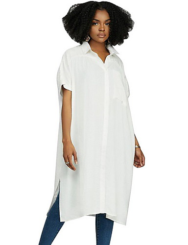 60f822756914 Γυναικεία Πουκάμισο Μονόχρωμο Κολάρο Πουκαμίσου Patchwork Λευκό L   Φαρδιά    Υπερμεγέθη