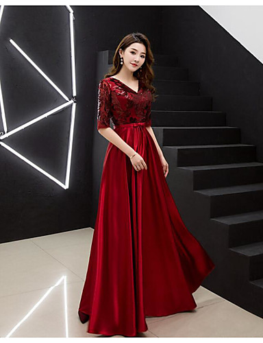 cheap Special Occasion Dresses-A-Line V Neck Floor Length Chiffon Dress with Sequin by LAN TING Express