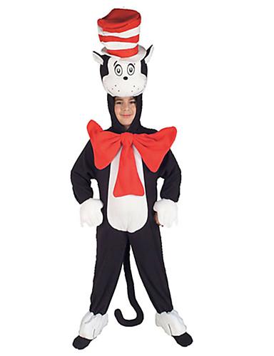 billige Cosplay og kostumer-Kat Cosplay Kostumer Børne Drenge Cosplay Halloween Jul Halloween Barnets Dag Festival / Højtider Plys Stof Sort Karneval Kostume Kat Patchwork