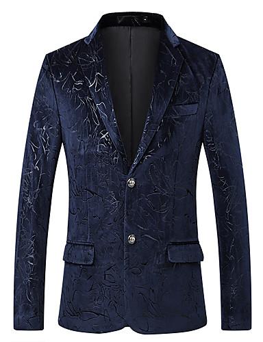 voordelige Uitverkoop-Heren Blazer, Geometrisch / Kleurenblok Puntige revers Rayon / Polyester Marineblauw / Slank
