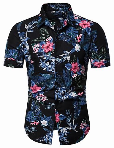 abordables Camisas de Hombre-Hombre Básico / Chic de Calle Playa Talla EU / US Estampado - Algodón Camisa, Cuello Inglés Floral / Gráfico Arco Iris XL / Manga Corta