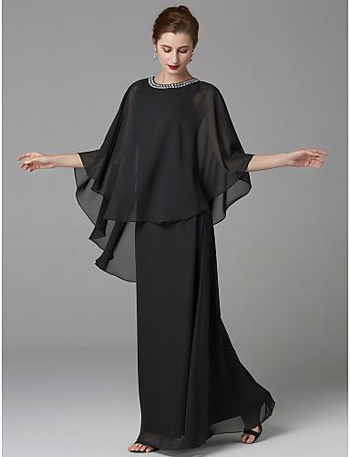 4dd5f26591 A-vonalú Ékszer Földig érő Sifon Örömanya ruha val vel Gyöngydíszítés által  LAN TING BRIDE®