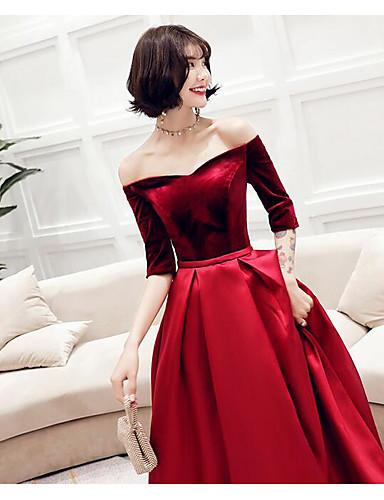 23152aaf56d98 A-Line Off Shoulder Floor Length Satin Bridesmaid Dress with Pleats ...