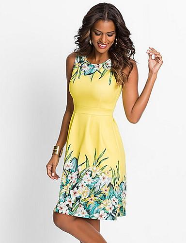 cheap Summer Dresses-Women's Elegant A Line Dress - Floral Print Blue Yellow Fuchsia L XL XXL