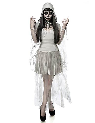 62929baf87 Vampiros Vestidos Disfrace de Cosplay Adulto Mujer Vestidos Halloween  Halloween Carnaval Mascarada Festival   Celebración Terileno Gris Mujer  Traje carnaval ...