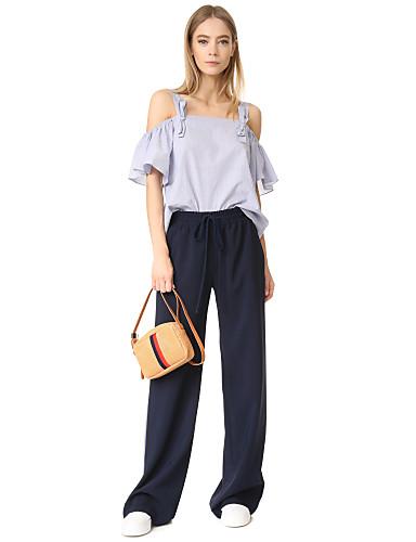 abordables Camisas y Camisetas para Mujer-Mujer Camisa A Rayas Azul Piscina S