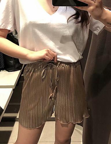 ราคาถูก กางเกงขาสั้น-สำหรับผู้หญิง พื้นฐาน เพรียวบาง กางเกงขาสั้น กางเกง - ลายแถบ สีเทา สีกากี S M L