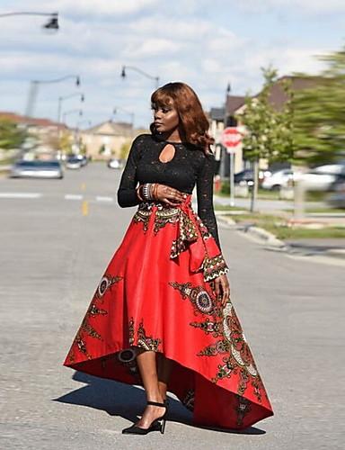 abordables Jupes-Femme Rétro Vintage Sophistiqué Asymétrique Balançoire Jupes - Fleur Imprimé Jaune Rouge S M L