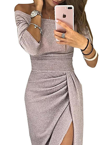 cheap Special Occasion Dresses-Casual Dress Sheath / Column Off Shoulder Ankle Length Sequined Dress with Sequin / Split Front by LAN TING Express
