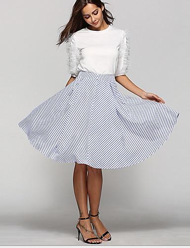preiswerte Damen Röcke-Damen A-Linie Röcke - Gestreift Blau