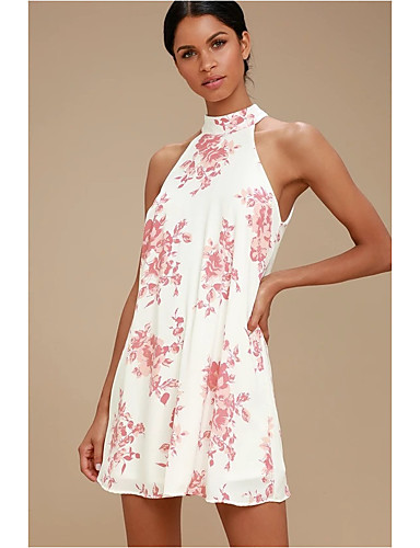 445ae144be Women's Street chic Elegant A Line Sundress - Floral Pleated Print Blue  White Blushing Pink M L XL