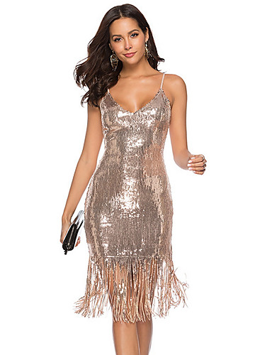 cheap Especially On Halloween-Women's Basic Bodycon Sheath Dress - Solid Colored Backless Tassel Silver Red Beige M L XL