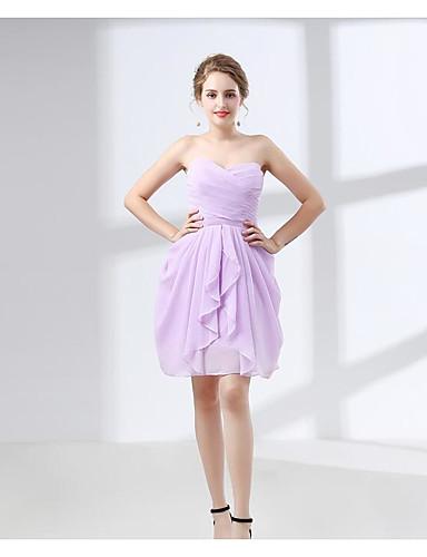 7f7d06ed9c olcso Koszorúslány ruhák-A-vonalú Pánt nélküli Térd feletti Sifon  Koszorúslány ruha val vel