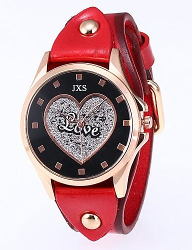 Naisten Quartz Heart Shape Musta Sininen Punainen PU Leather Kiina Quartz Musta Rubiini Persikka Vedenkestävä 30 m 1 kpl Analoginen Kaksi vuotta Akun käyttöikä