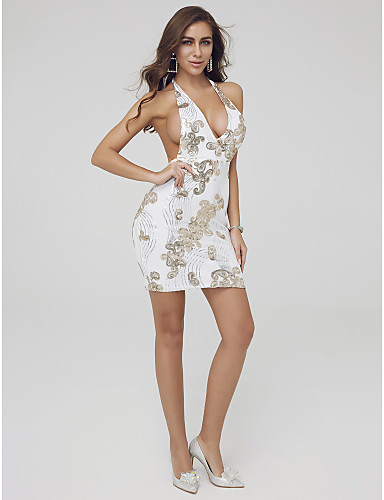 eef8ea346cdc Sheath / Column Plunging Neck Short / Mini Sequined Cocktail Party Dress  with Sequin by TS Couture® 7202192 2019 – $29.99