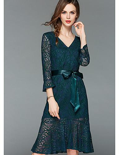 776bbf4094de Γυναικεία Λεπτό Γραμμή Α Φόρεμα Μίντι Λαιμόκοψη V