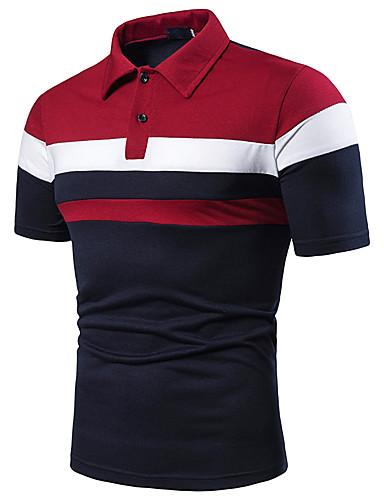 voordelige Uitverkoop-Heren Patchwork EU / VS maat - Polo Kleurenblok Overhemdkraag Rood