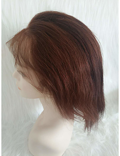 billige Blondeparykker med menneskehår-Ekte hår Helblonde Parykk Gratis del stil Peruviansk hår Rett Lysebrun Parykk 130% Hair Tetthet Dame Dame Kort Andre
