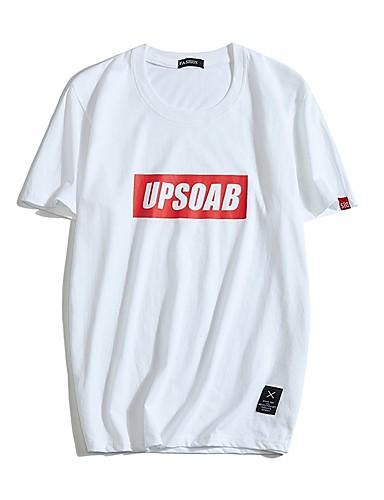 abordables Ropa de Hombre-Hombre Talla EU / US Estampado - Algodón Camiseta, Escote Redondo Letra Azul claro 32