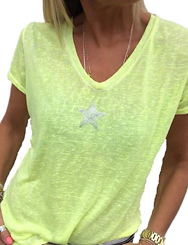 abordables Hauts pour Femme-Tee-shirt Grandes Tailles Femme, Graphique Paillettes Col en V Jaune