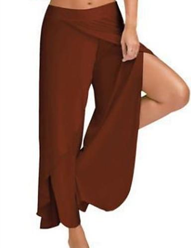 hesapli Kadın Pantolonl-Kadın's Temel Büyük Bedenler İnce Geniş Bacak Pantolon - Solid Açık Mavi Açık Kahverengi Açık Gri XXXL XXXXL XXXXXL