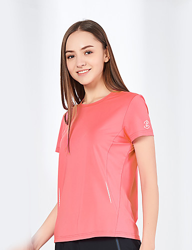 cheap Outdoor Clothing-Women's Solid Color Hiking Tee shirt Short Sleeve Outdoor Windproof UV Resistant Breathable Quick Dry Tee / T-shirt Top Autumn / Fall Summer POLY Elastane Crew Neck Peach Blue Pink Climbing Camping