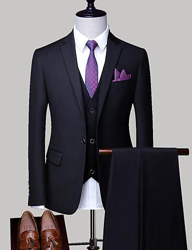 abordables Blazers & Costumes Homme-Homme Grandes Tailles costumes, Couleur Pleine Col de Chemise Polyester Gris Clair / Bleu royal / Lavande XXL / XXXL / XXXXL