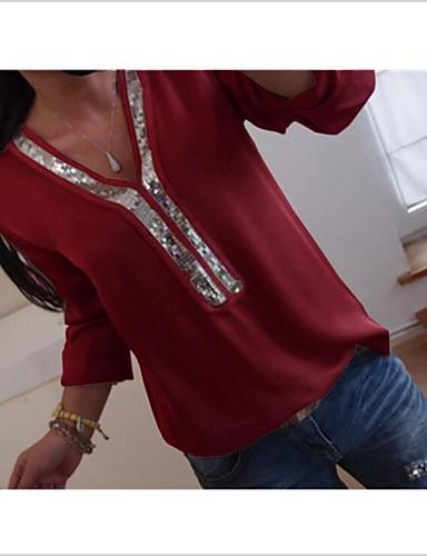billige Topper til damer-V-hals Skjorte Dame - Ensfarget, Paljetter Svart