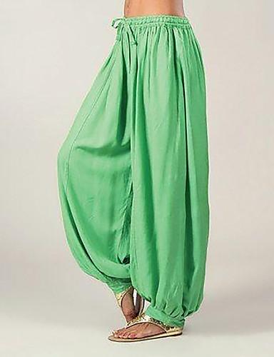 abordables Pantalons Femme-Femme Ample Culotte Bouffante Pantalon - Couleur Pleine énorme Coton Noir Bleu clair Blanche S M L